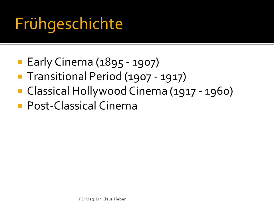 Frühgeschichte Early Cinema (1895 - 1907)