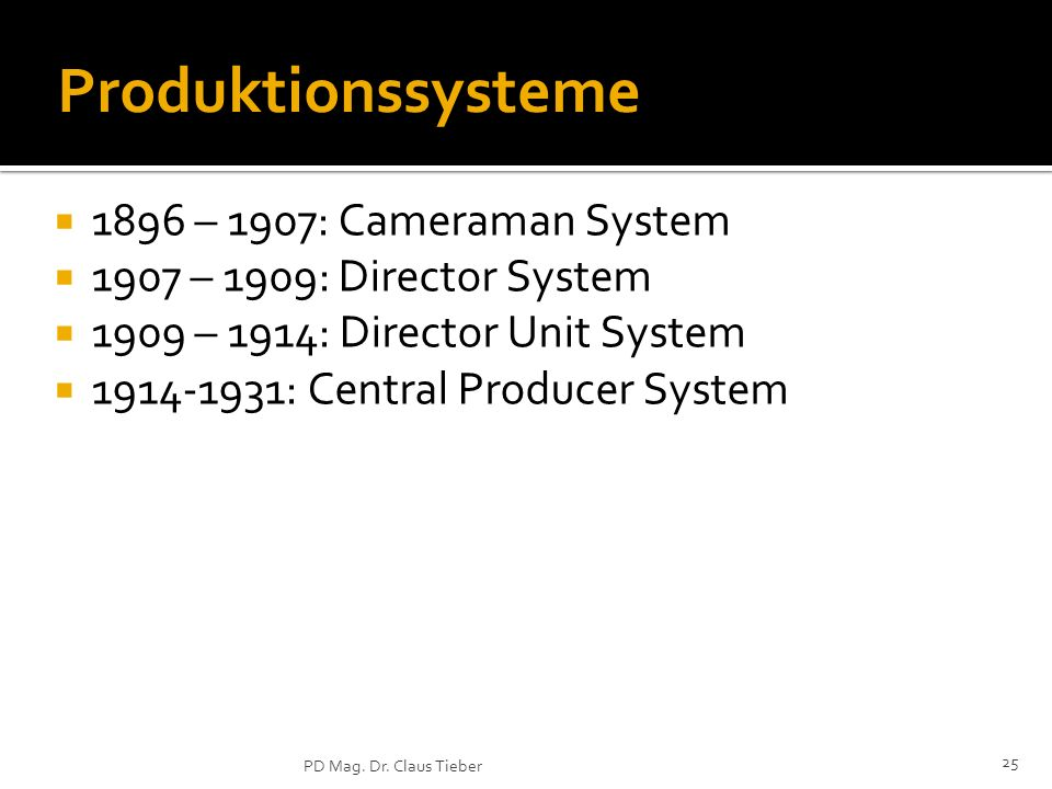 Produktionssysteme 1896 – 1907: Cameraman System