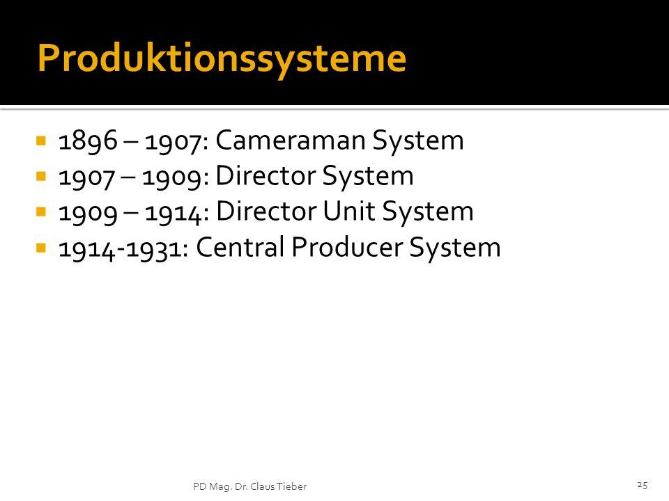 Produktionssysteme 1896 – 1907: Cameraman System