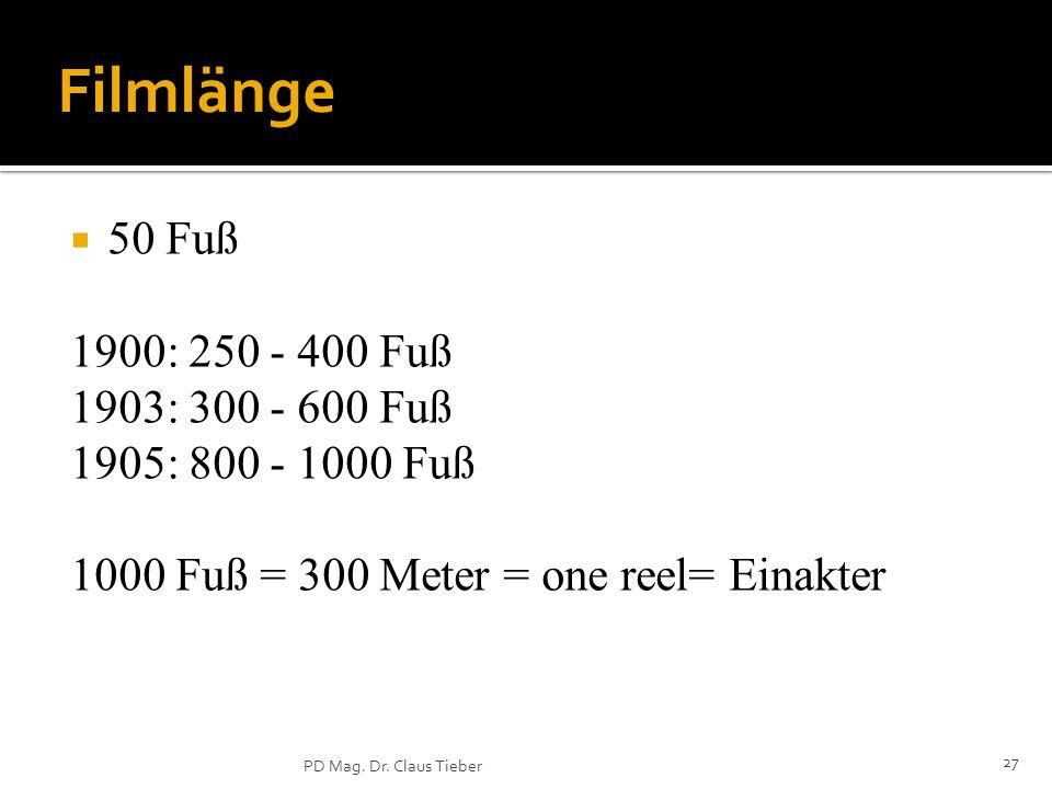 Filmlänge 50 Fuß 1900: 250 - 400 Fuß 1903: 300 - 600 Fuß