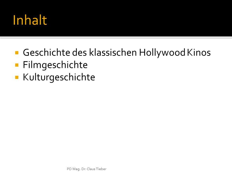 Inhalt Geschichte des klassischen Hollywood Kinos Filmgeschichte