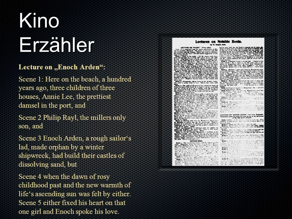 "Kino Erzähler Lecture on ""Enoch Arden :"