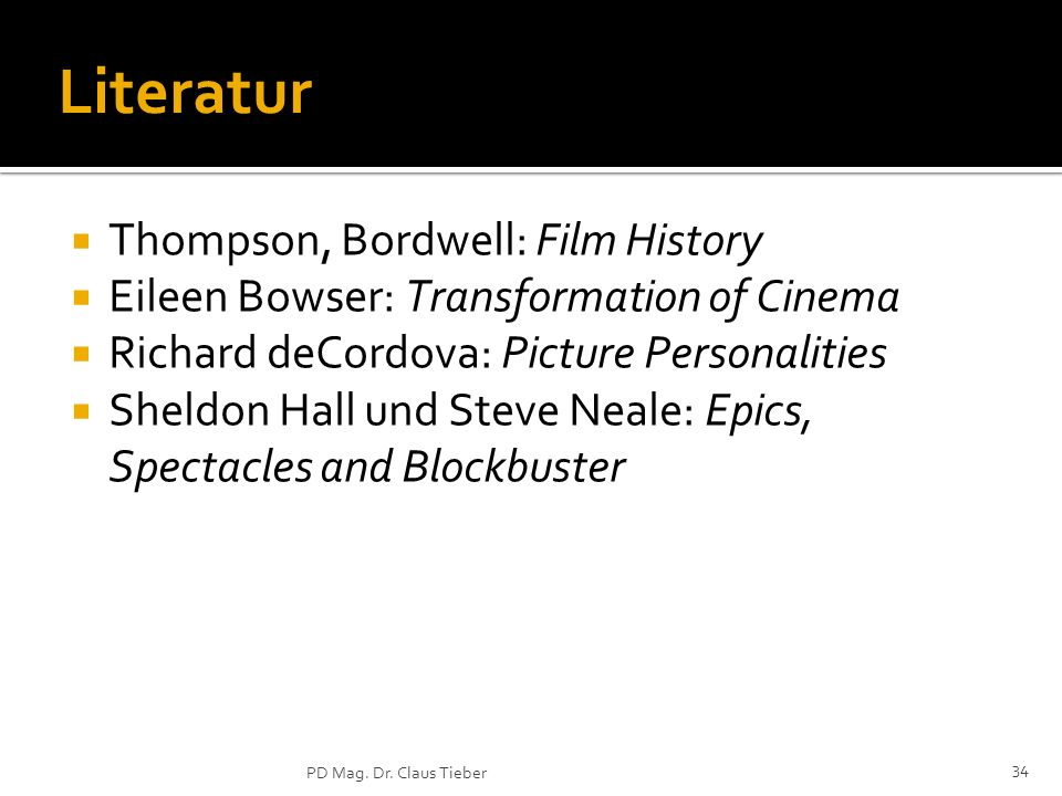 Literatur Thompson, Bordwell: Film History