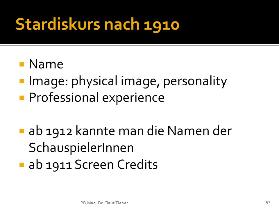 Stardiskurs nach 1910 Name Image: physical image, personality