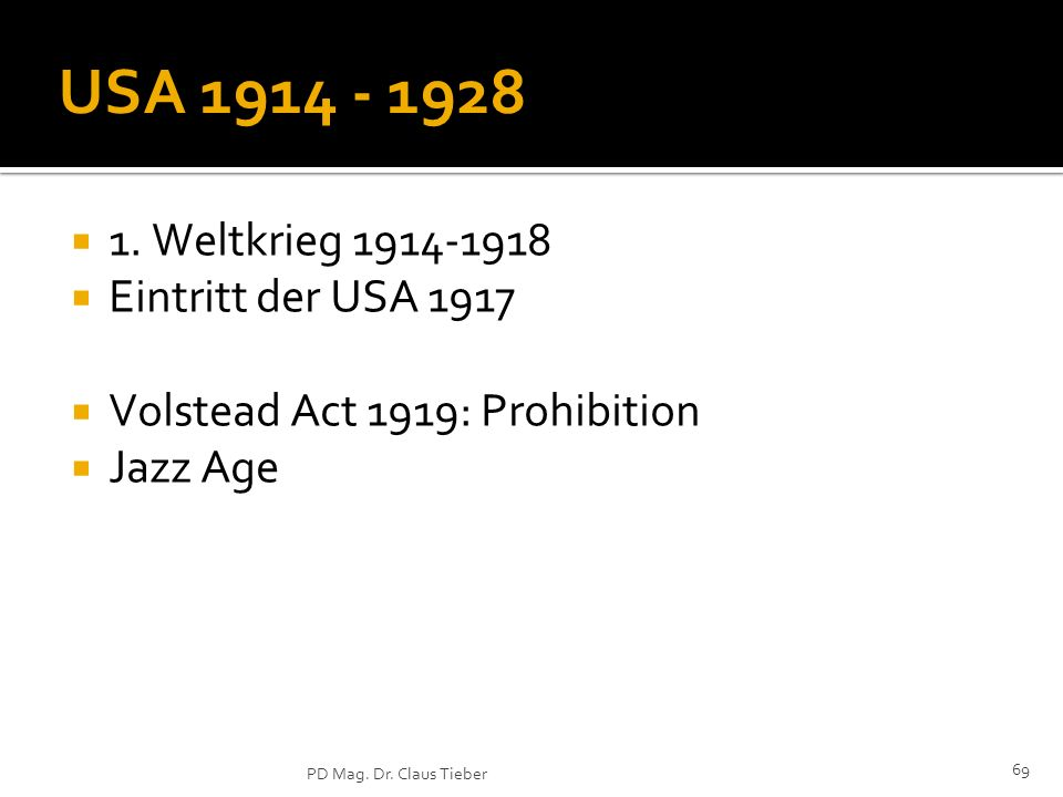 USA 1914 - 1928 1. Weltkrieg 1914-1918 Eintritt der USA 1917
