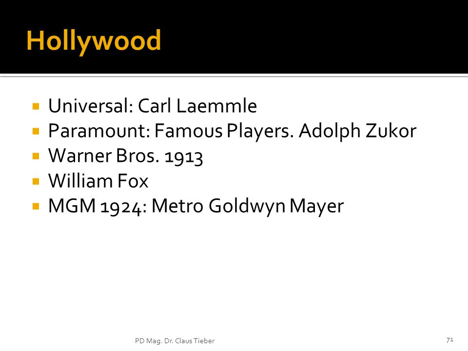 Hollywood Universal: Carl Laemmle