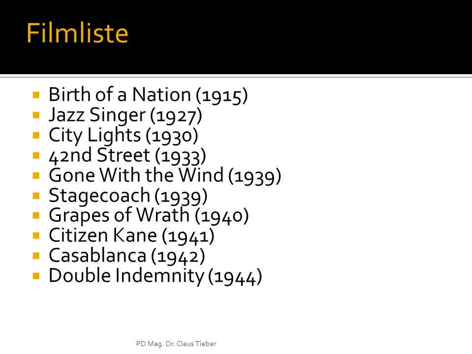 Filmliste Birth of a Nation (1915) Jazz Singer (1927)