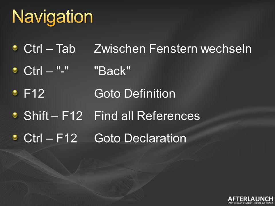 Navigation Ctrl – Tab Zwischen Fenstern wechseln Ctrl – - Back