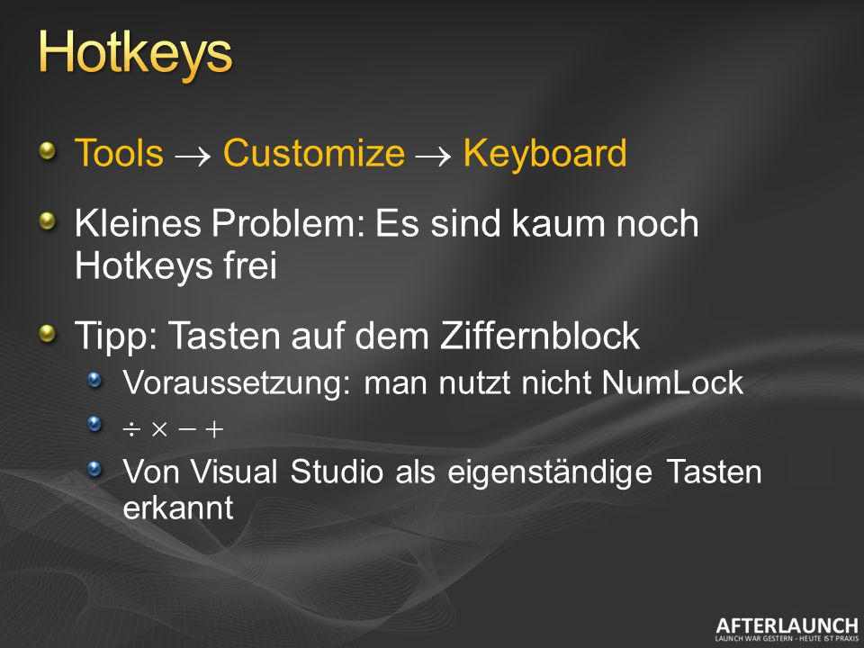 Hotkeys Tools  Customize  Keyboard