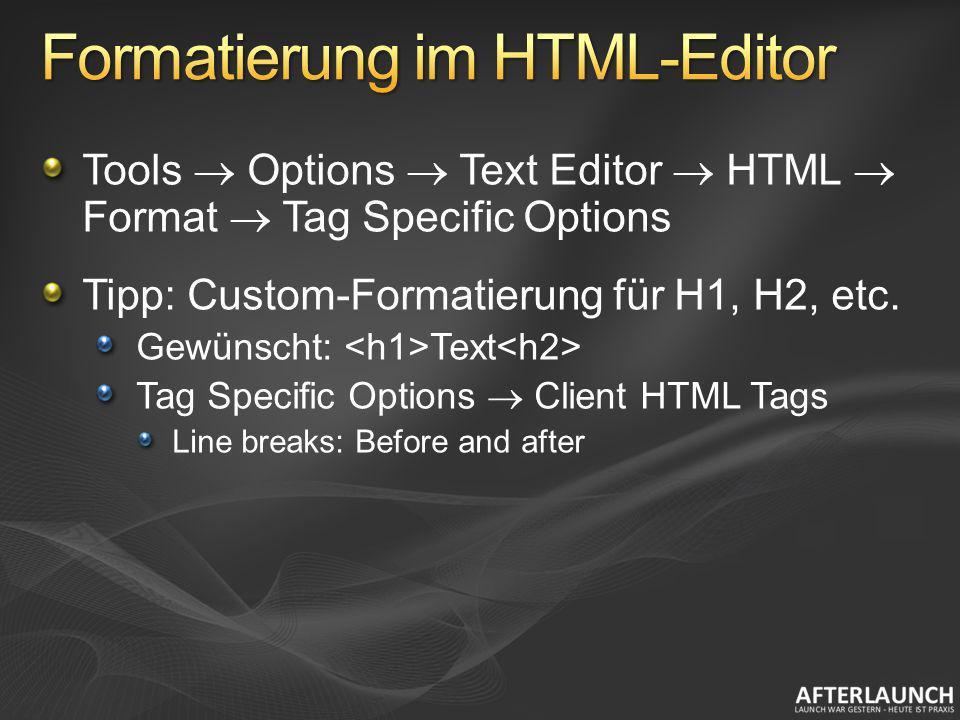 Formatierung im HTML-Editor
