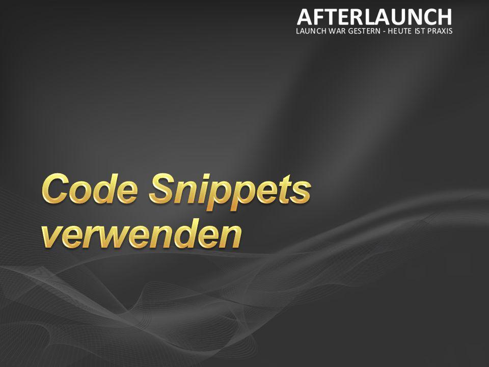 Code Snippets verwenden