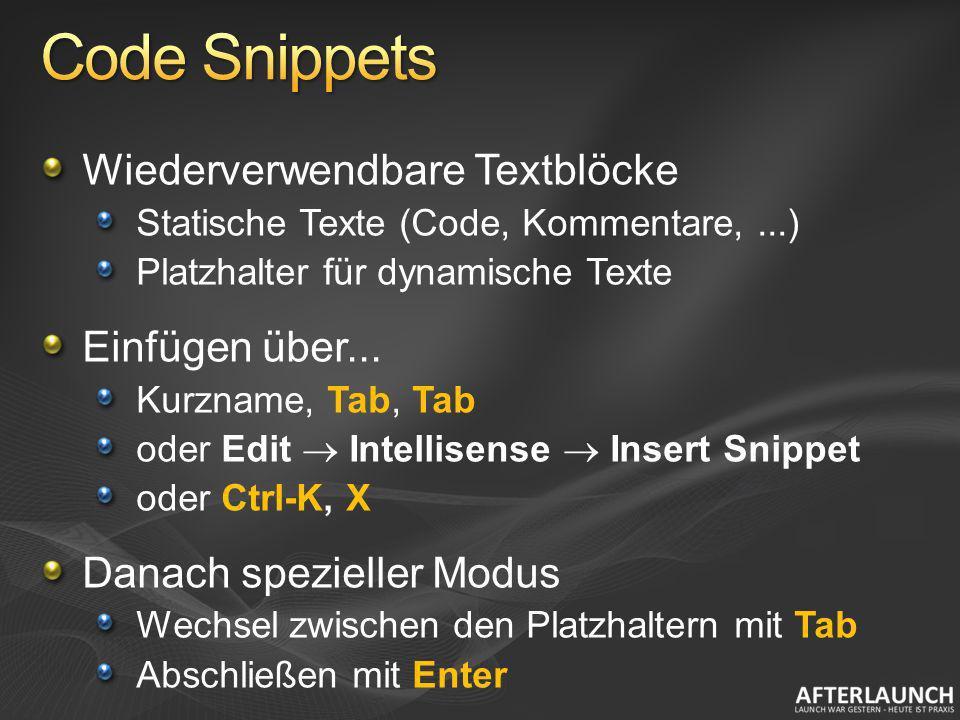 Code Snippets Wiederverwendbare Textblöcke Einfügen über...