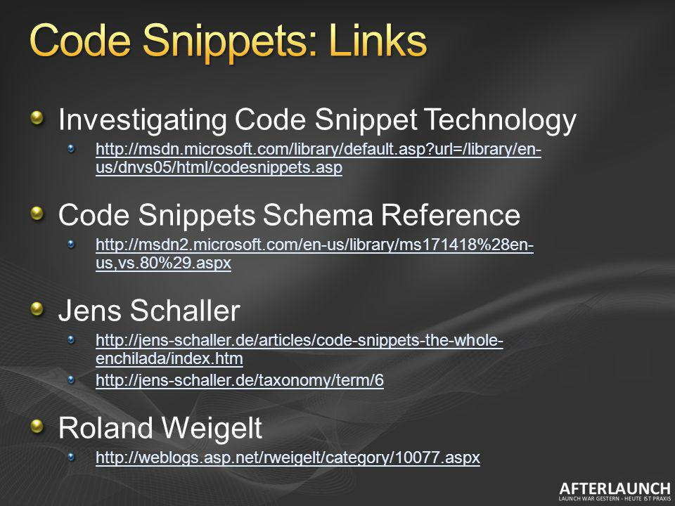 Code Snippets: Links Investigating Code Snippet Technology