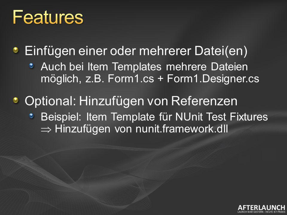 Features Einfügen einer oder mehrerer Datei(en)