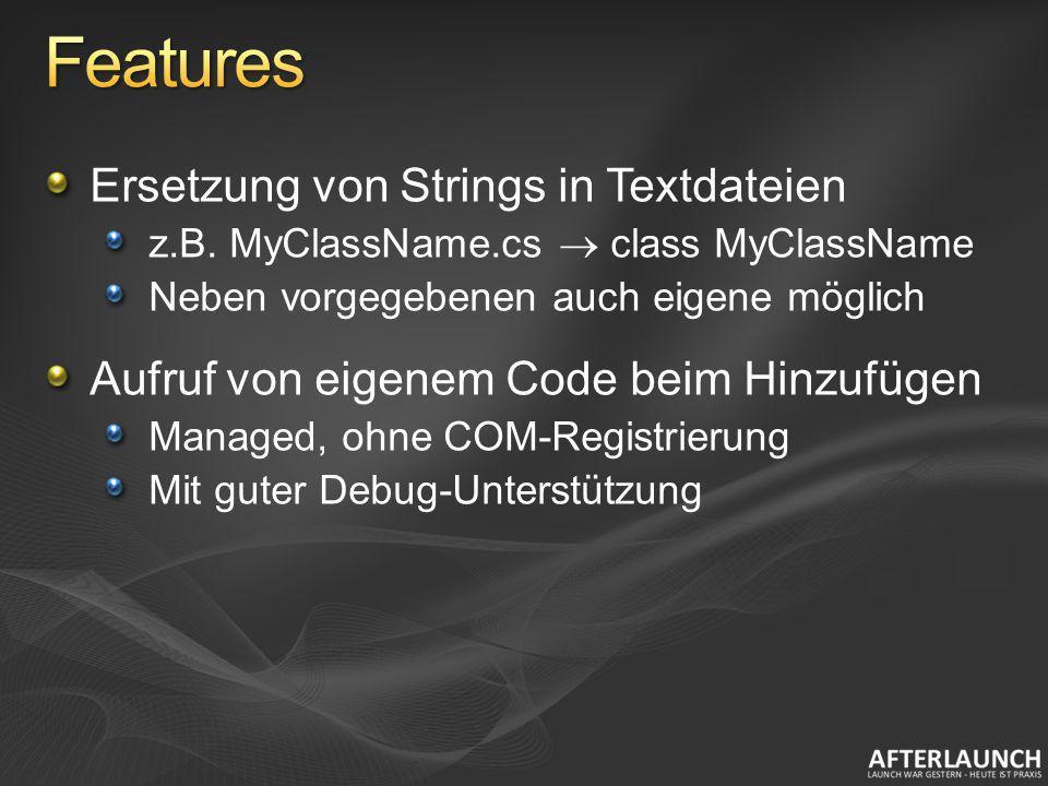 Features Ersetzung von Strings in Textdateien