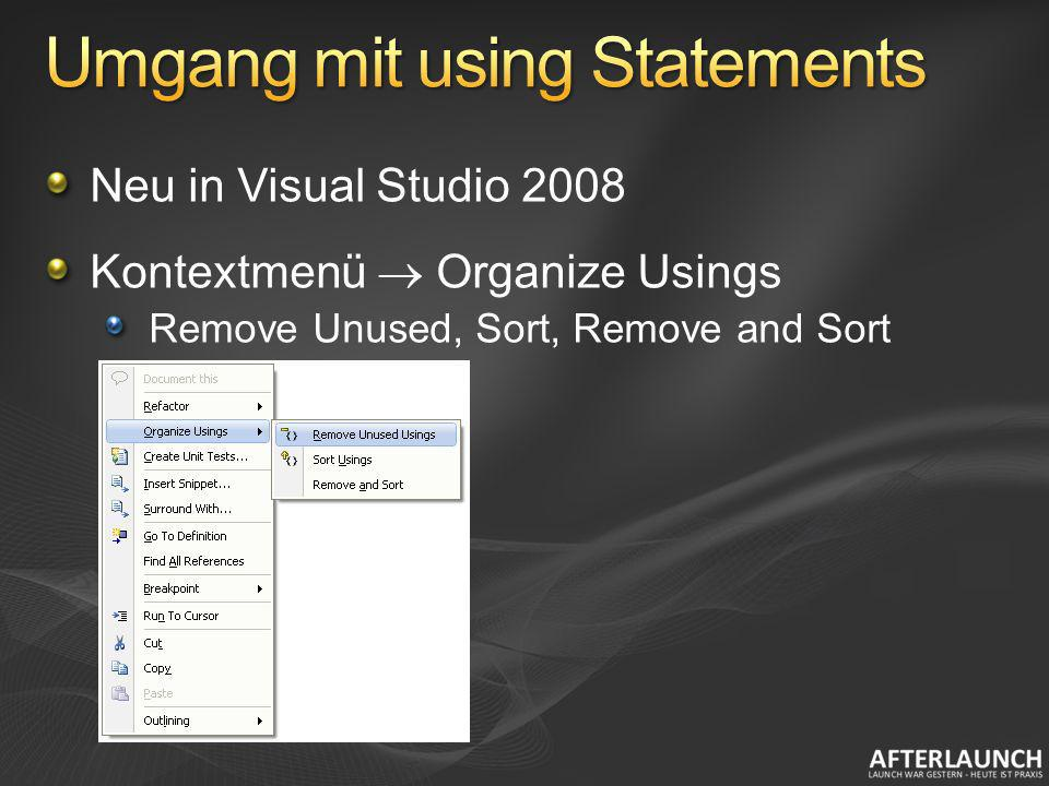 Umgang mit using Statements
