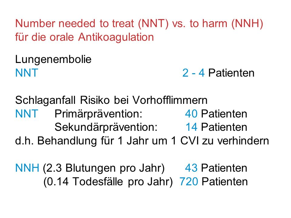 Number needed to treat (NNT) vs