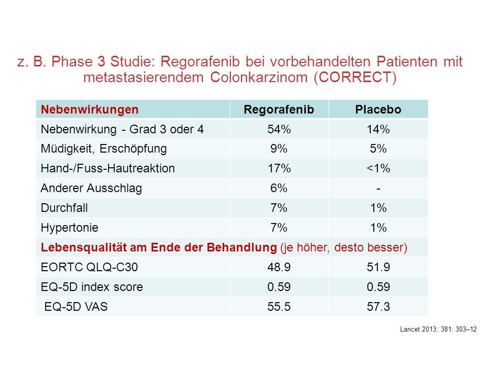 z. B. Phase 3 Studie: Regorafenib bei vorbehandelten Patienten mit metastasierendem Colonkarzinom (CORRECT)