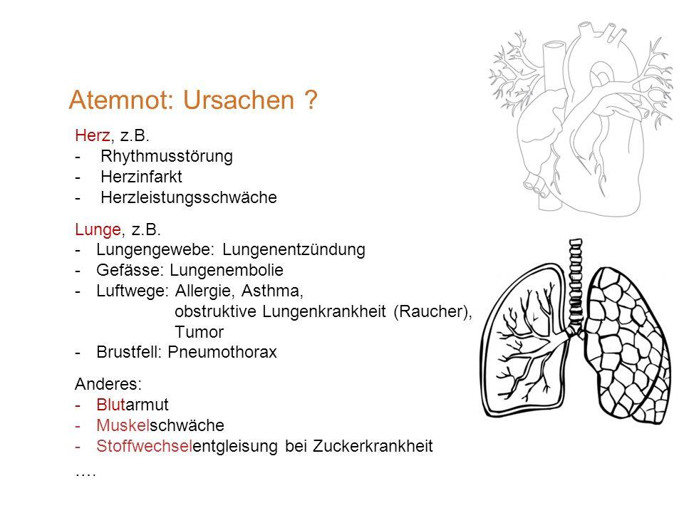 Atemnot: Ursachen Herz, z.B. Rhythmusstörung Herzinfarkt
