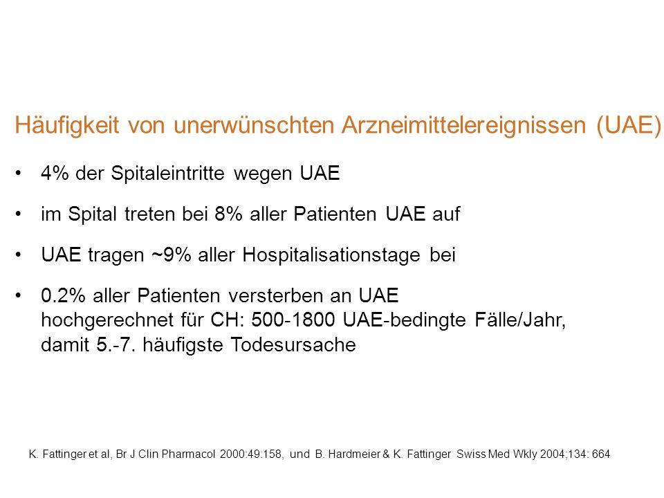 Häufigkeit von unerwünschten Arzneimittelereignissen (UAE)