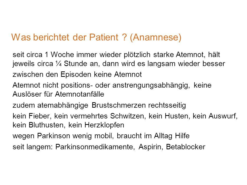 Was berichtet der Patient (Anamnese)