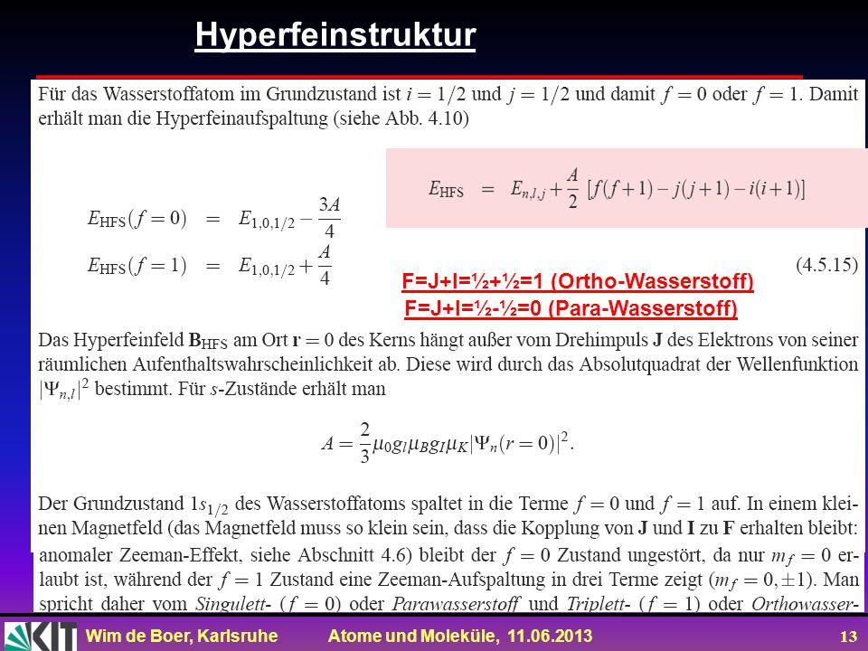 Hyperfeinstruktur F=J+I=½+½=1 (Ortho-Wasserstoff)