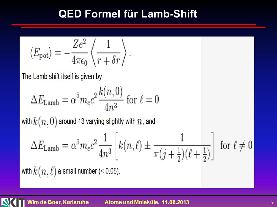 QED Formel für Lamb-Shift