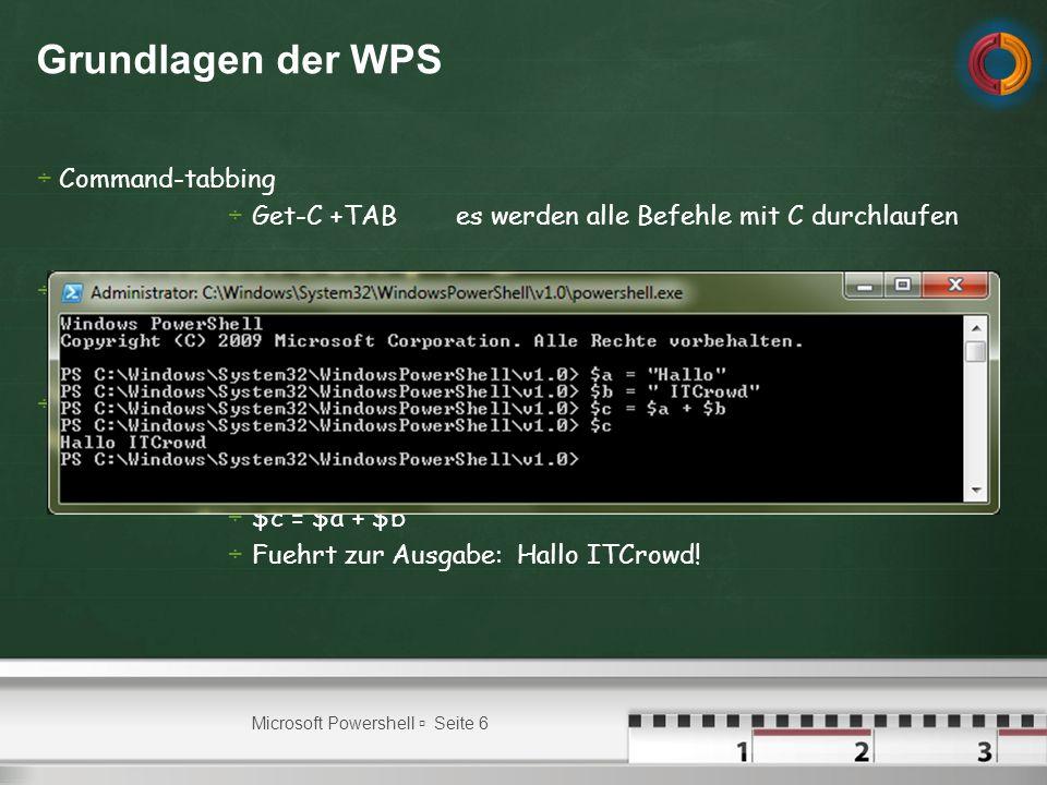 Grundlagen der WPS Command-tabbing