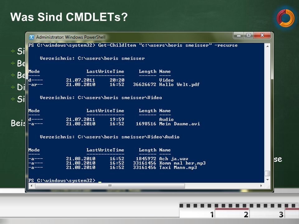 Was Sind CMDLETs Sie sind WPS-Befehle, aehnlich einer Kommandozeile
