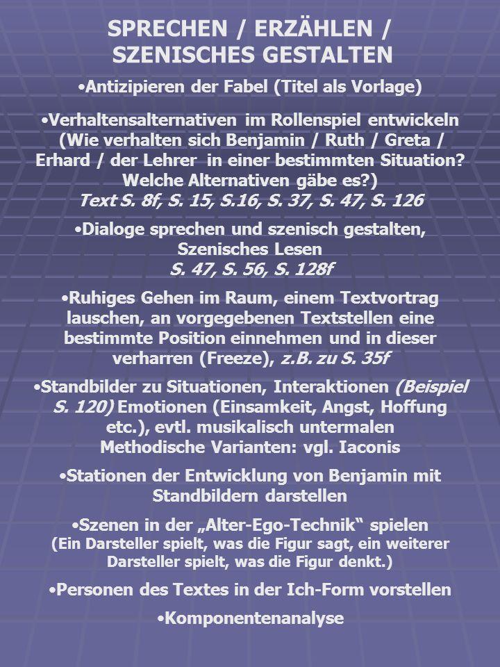 SPRECHEN / ERZÄHLEN / SZENISCHES GESTALTEN