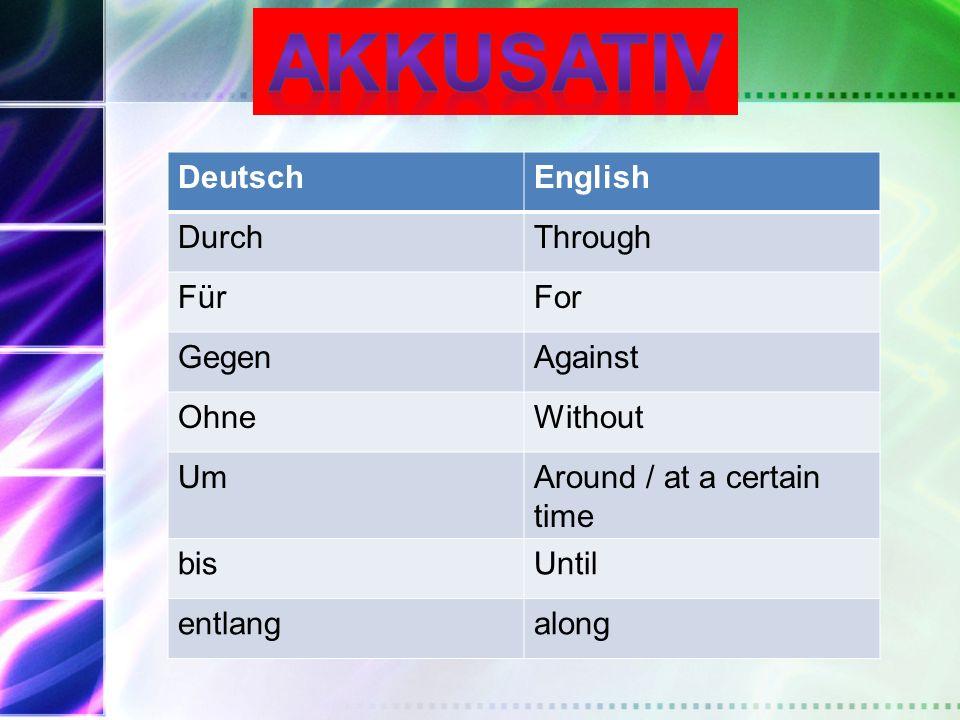 Akkusativ Deutsch English Durch Through Für For Gegen Against Ohne