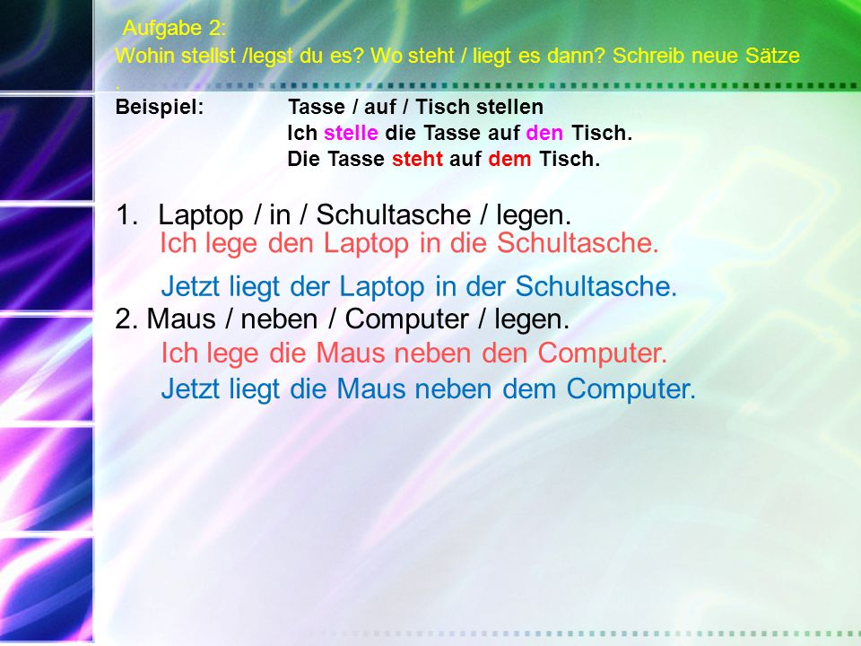 Laptop / in / Schultasche / legen.