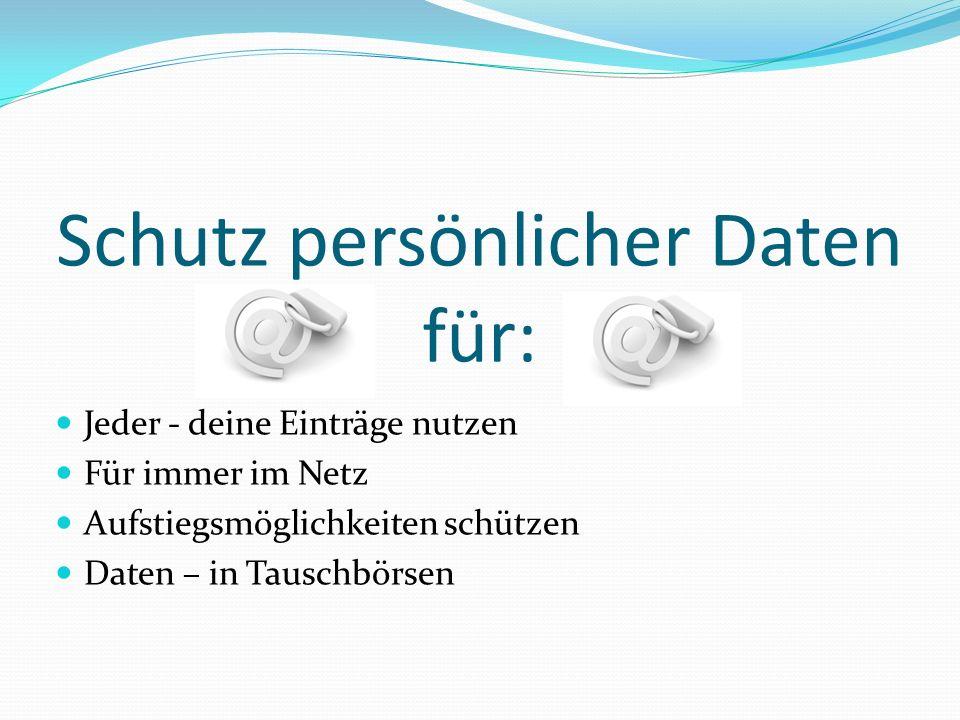 Schutz persönlicher Daten für: