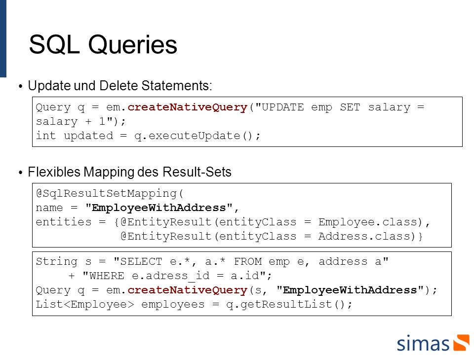 SQL Queries Update und Delete Statements: