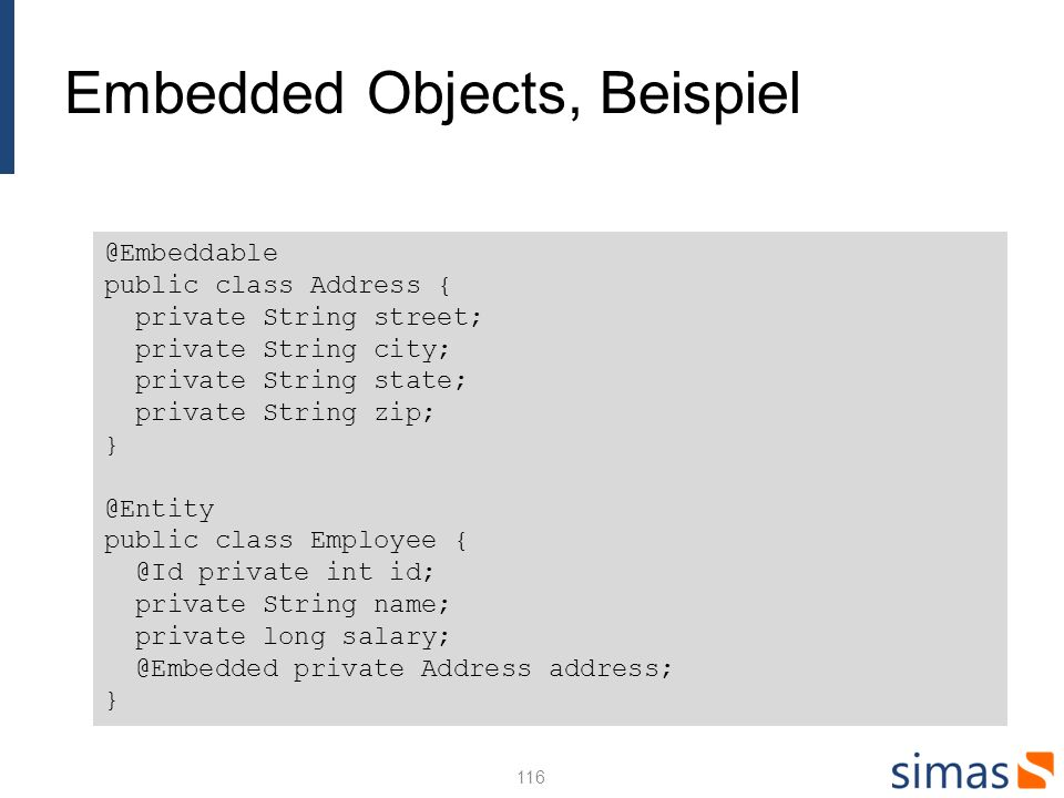 Embedded Objects, Beispiel