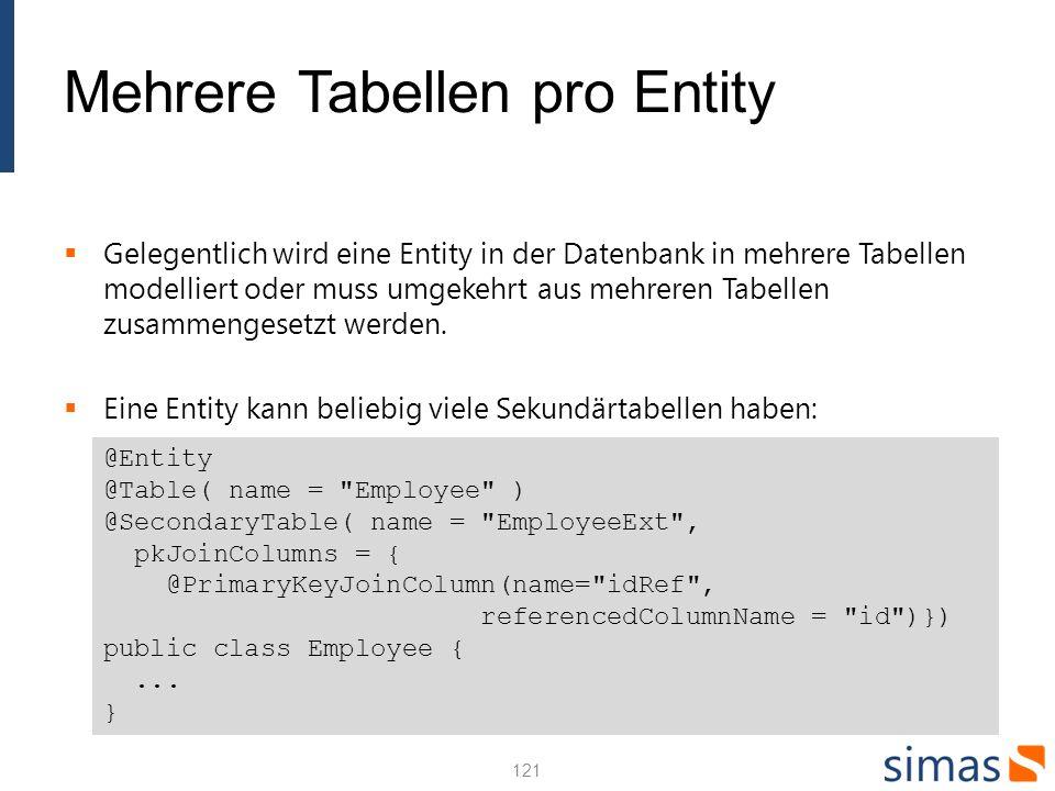 Mehrere Tabellen pro Entity