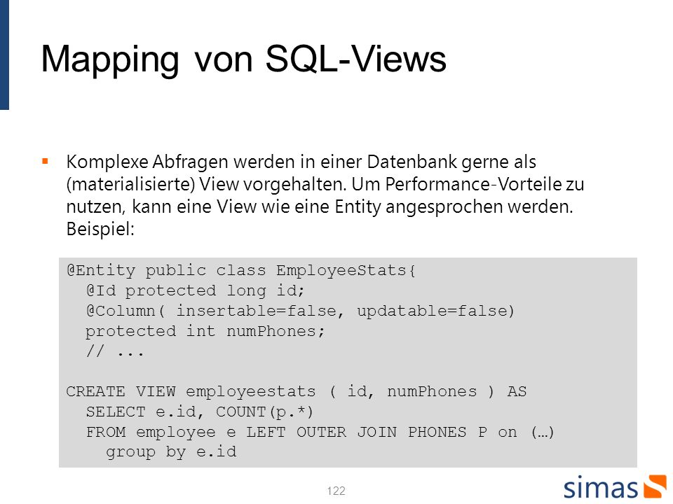 Mapping von SQL-Views