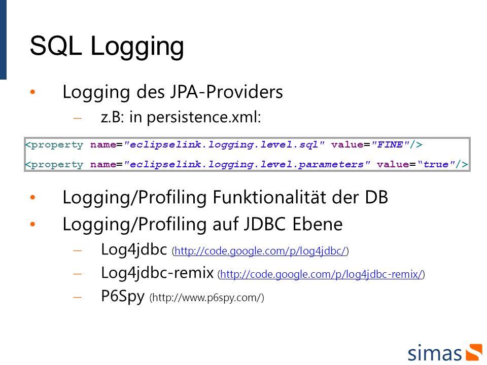 SQL Logging Logging des JPA-Providers