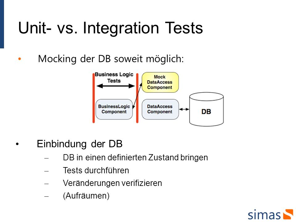 Unit- vs. Integration Tests