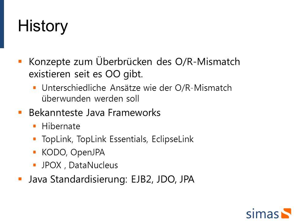 History Konzepte zum Überbrücken des O/R-Mismatch existieren seit es OO gibt. Unterschiedliche Ansätze wie der O/R-Mismatch überwunden werden soll.