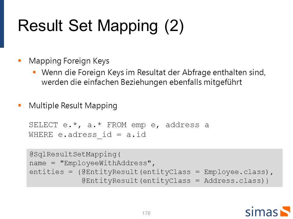 Result Set Mapping (2) Mapping Foreign Keys