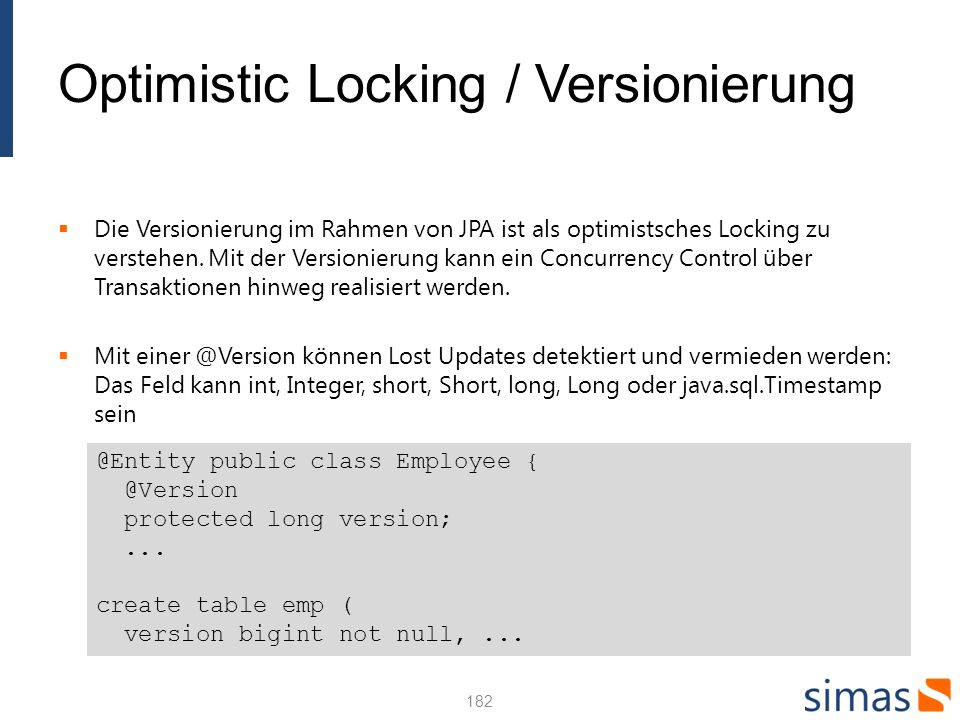 Optimistic Locking / Versionierung