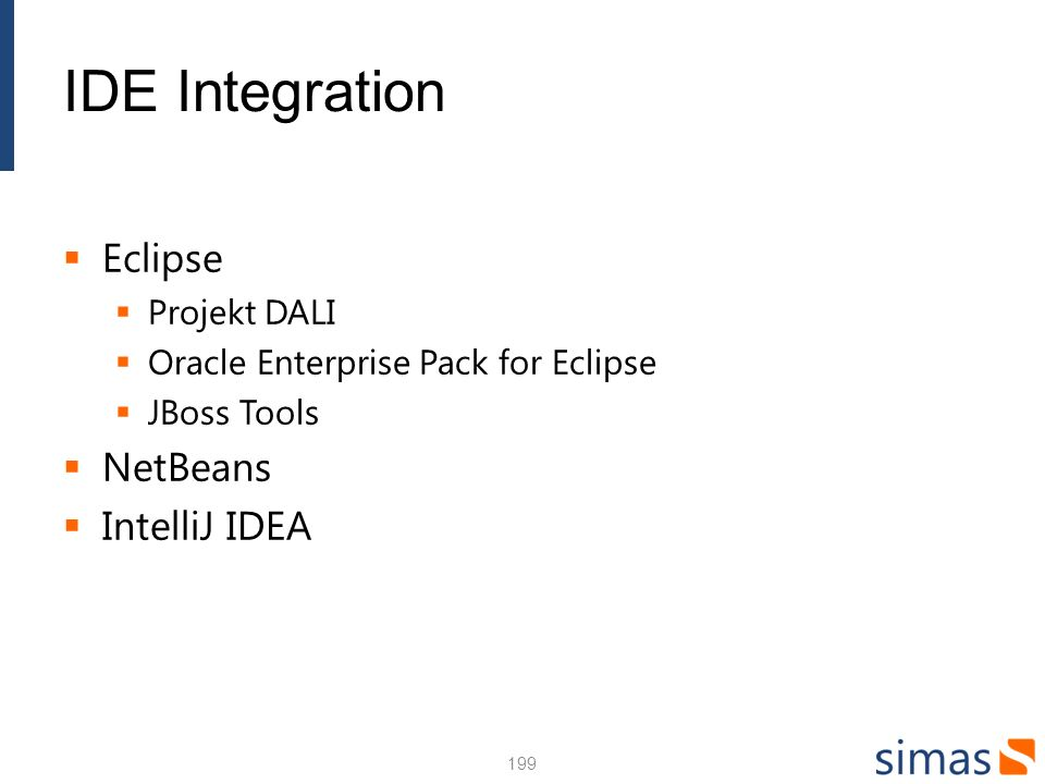 IDE Integration Eclipse NetBeans IntelliJ IDEA Projekt DALI