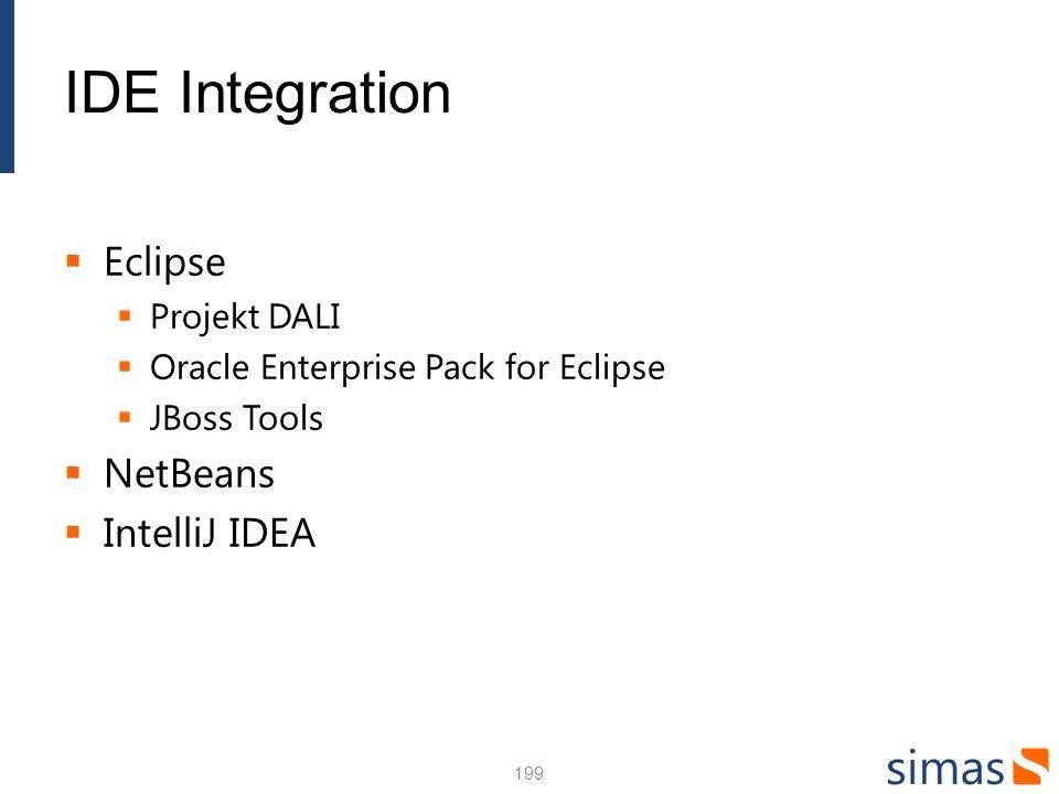 IDE Integration Eclipse NetBeans IntelliJ IDEA Projekt DALI