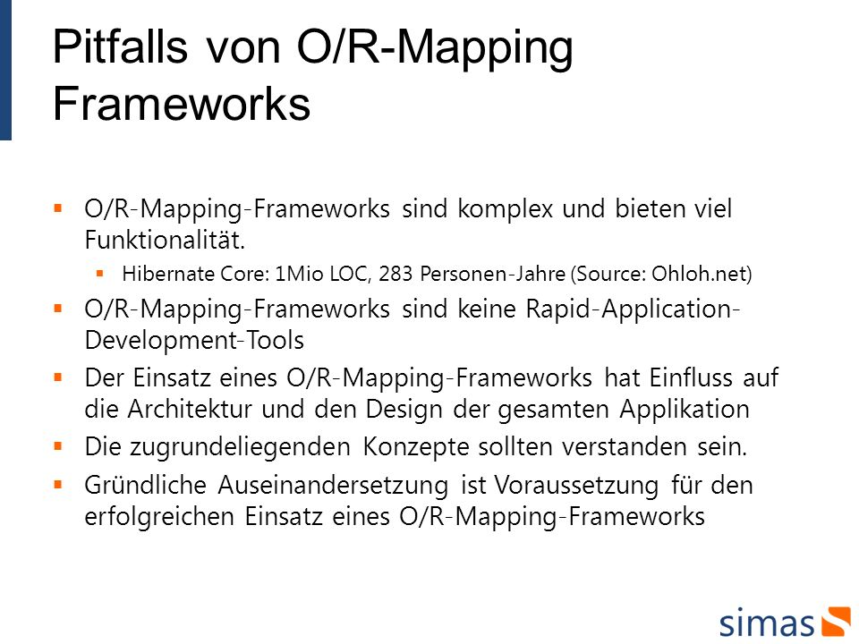 Pitfalls von O/R-Mapping Frameworks