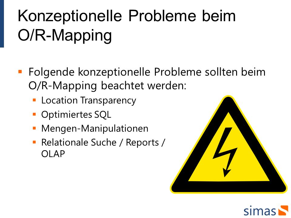 Konzeptionelle Probleme beim O/R-Mapping