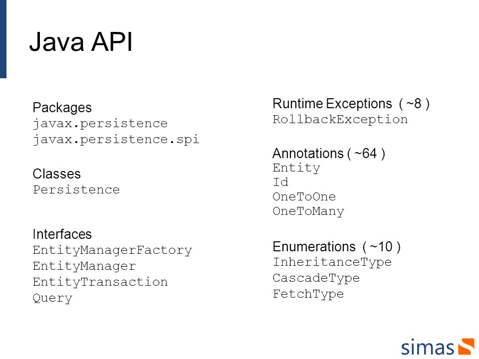 Java API Runtime Exceptions ( ~8 ) RollbackException