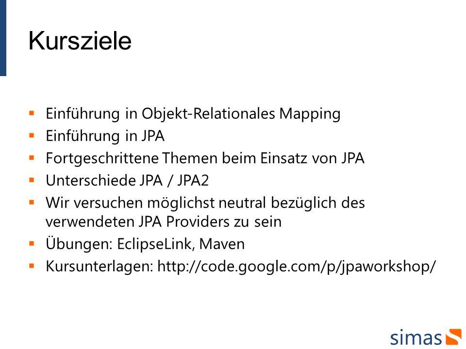 Kursziele Einführung in Objekt-Relationales Mapping Einführung in JPA