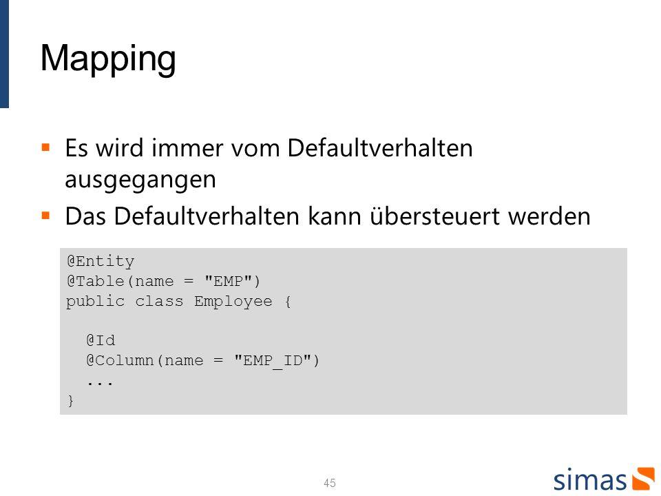 Mapping Es wird immer vom Defaultverhalten ausgegangen