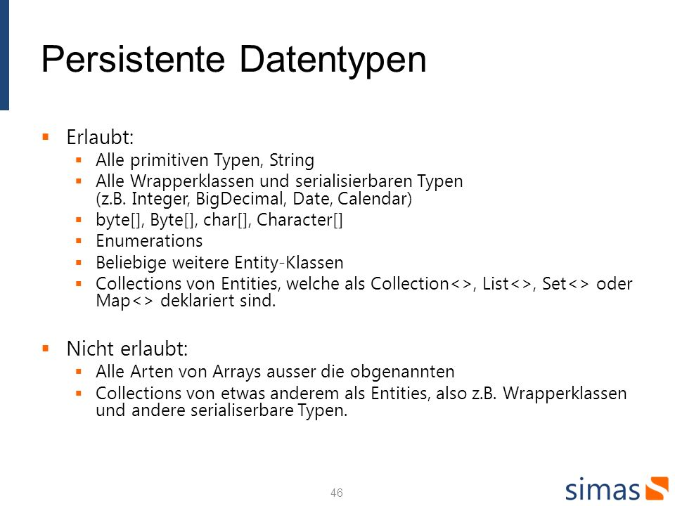 Persistente Datentypen